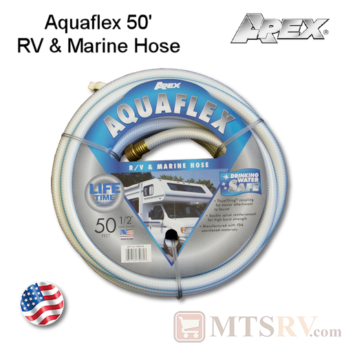 "Apex Aquaflex 50' x 1/2"" RV & Marine Reinforced Water/Garden Hose - USA Made"