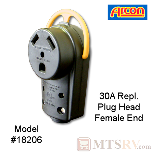 Arcon 30A Electrical Cord Replacement Plug Head w/ Folding Handle - FEMALE END - Model 18206