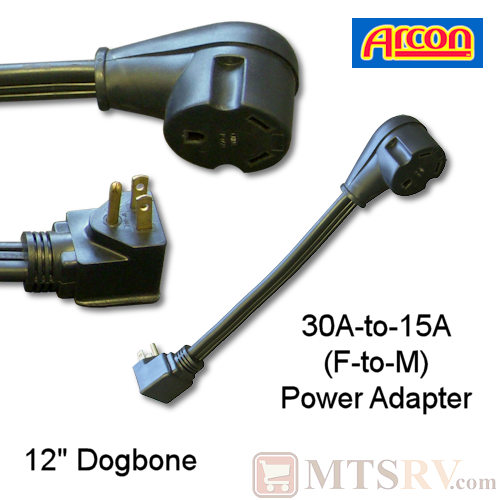 "Arcon 30A-to-15A (F/M) 12"" Black Dogbone Adapter - Model 14246 - 110V Pigtail Extension"