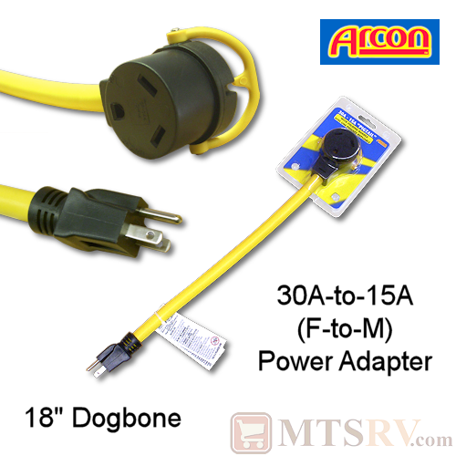 "Arcon 30A-to-15A (F/M) 18"" Yellow Dogbone Adapter - Model 14365 - 110V Pigtail Extension"