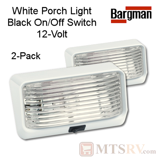 Bargman 12V Exterior RV Porch Light - WHITE - 2-PACK - On/Off Switch and Clear Lens