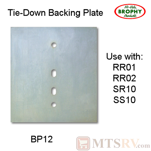 CR Brophy - Model BP12 - SINGLE - Zinc-Plated Rectangular Backing Plate for RR01/RR02/SS10/SR10 Tie-Downs