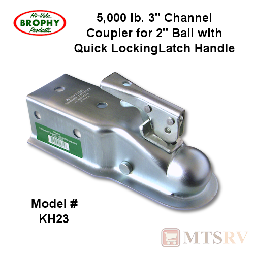"Brophy KH23 Trailer Coupler - 5,000 lb - 2"" Ball x 3"" Channel - Zinc-Plated Steel"