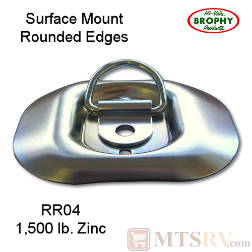 CR Brophy - Model RR04 - SINGLE - Zinc-Plated 1.5K Rounded Tie-Down D-Ring Surface Mount