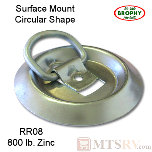 CR Brophy - Model RR08 - SINGLE - Zinc-Plated 800 lb. Circular Tie-Down D-Ring Surface Mount