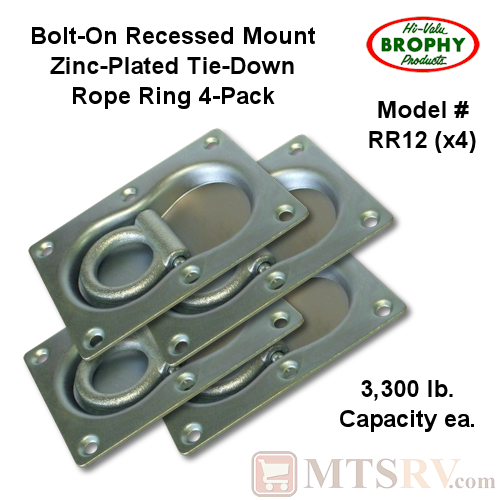 CR Brophy - Model RR12 - 4-PACK - Zinc-Plated 3.3K Rectangular Recessed Tie-Down Rope Ring