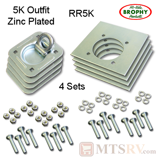 CR Brophy - Model RR5K - 4-PACK - Zinc-Plated 5K Square Recessed Tie-Down D-Ring Kit w/ Mounting Hardware