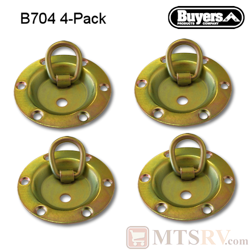Buyers  - Model B704 - 4-PACK - Yellow-Zinc-Plated 1.8K Circular Rotating Tie-Down D-Ring Recessed Mount