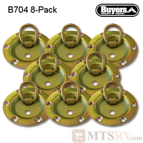 Buyers  - Model B704 - 8-PACK - Yellow-Zinc-Plated 1.8K Circular Rotating Tie-Down D-Ring Recessed Mount