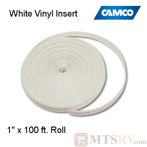 "Camco RV Model 25202 100 ft. Roll of Vinyl Insert for Trim Molding - Polar White - 1"" x 100'"