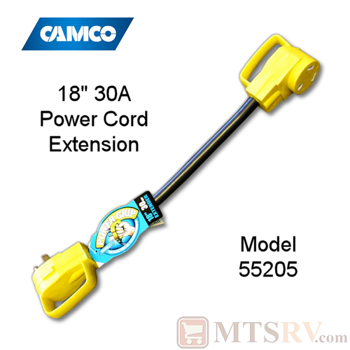 "Camco RV 30A 18"" Electrical Power Cord Extender with Power Grip Handles - 125V - Model 55205"