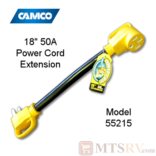 "Camco RV 50A 18"" Electrical Power Cord Extender with Power Grip Handles - 125V/250V - Model 55215"