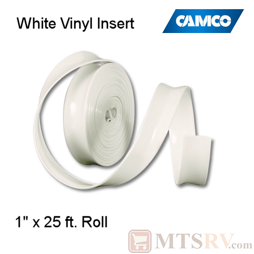 "Camco RV Model 25103 25 ft. Roll of Vinyl Insert for Trim Molding - Polar White - 1"" x 25'"