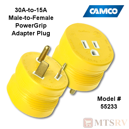 Camco RV 30A-to-15A (M/F) Yellow Plug Adapter