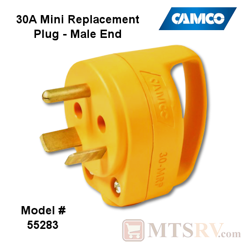 Camco RV 30A Electrical Cord MINI Replacement Plug Head w/ Power Grip Handle - MALE END - Model 55283