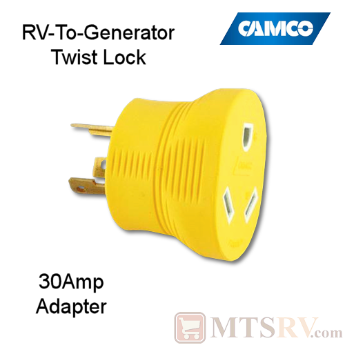 Camco Rv 30a Round Rv To Generator Twist Lock Adapter Plug Model 55333 125v Heavy Duty