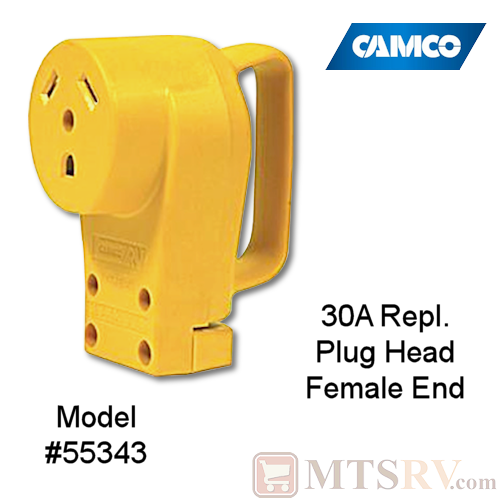 Camco RV 30A Electrical Cord Replacement Plug Head w/ Power Grip Handle - FEMALE END - Model 55343