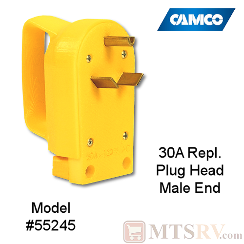 Camco RV 30A Electrical Cord Replacement Plug Head w/ Power Grip Handle - MALE END - Model 55245