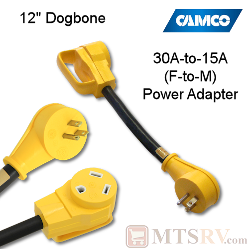 "Camco RV HD Power Grip 30A-to-15A (F-M) 12"" Dogbone Adapter - Yellow Grips - Model 55165"