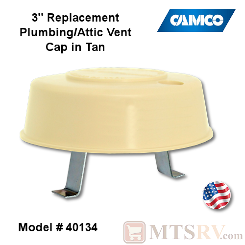 Camco RV Replacement Plumbing/Attic Vent Cap with Springs - TAN (Colonial White) - Model 40134 - USA Made