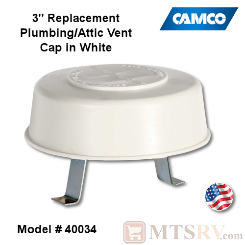 Camco RV Replacement Plumbing/Attic Vent Cap with Springs - WHITE (Polar White) - Model 40034 - USA Made