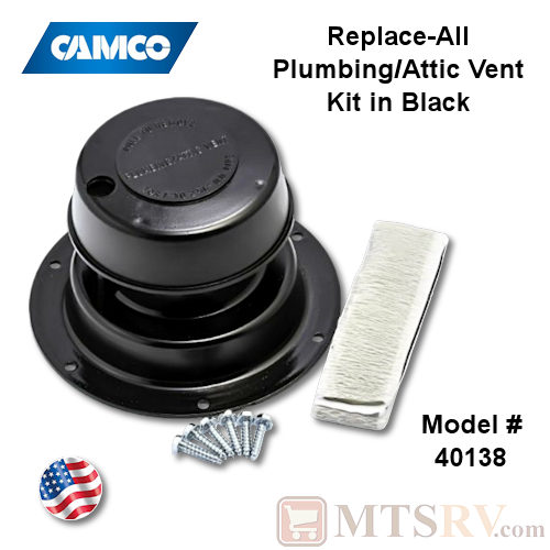 Camco RV Model 40138 Replace-All Plumbing/Attic Vent Cover Kit w/Screws & Putty Tape - Black - USA Made