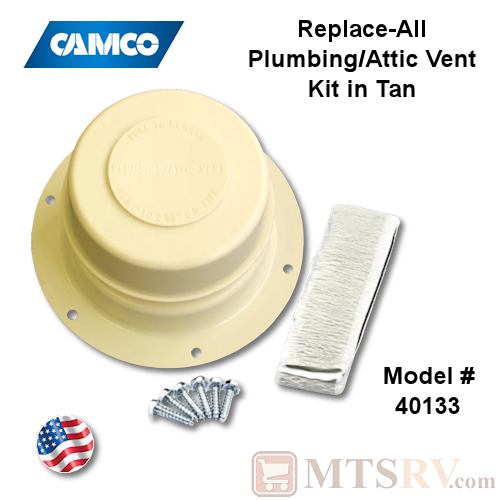 Camco RV Model 40133 Replace-All Plumbing/Attic Vent Cover Kit w/Screws & Putty Tape - Tan (Colonial White) - USA Made