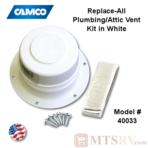 Camco RV Model 40033 Replace-All Plumbing/Attic Vent Cover Kit w/Screws & Putty Tape - Polar White - USA Made