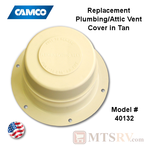 Camco RV Plumbing/Attic Vent Cover - TAN (Colonial White) - Model 40132 - USA Made