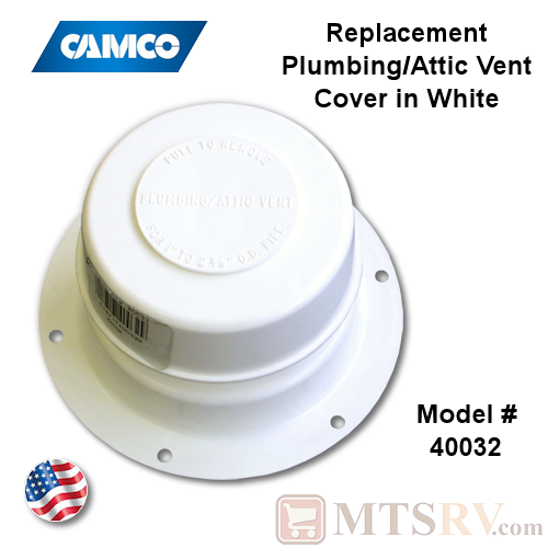 Camco RV Plumbing/Attic Vent Cover - WHITE (Polar White) - Model 40032 - USA Made