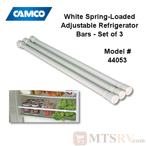 Camco RV Adjustable Spring-Loaded Refrigerator Retaining Bars - 3-PACK - Model 44053