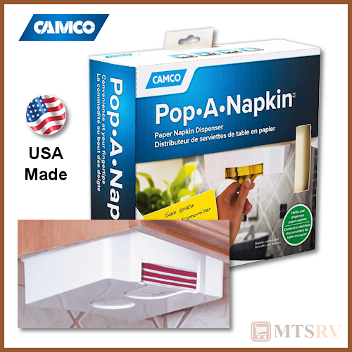Camco RV Pop-A-Napkin - Hanging Paper Napkin Dispenser - 57041