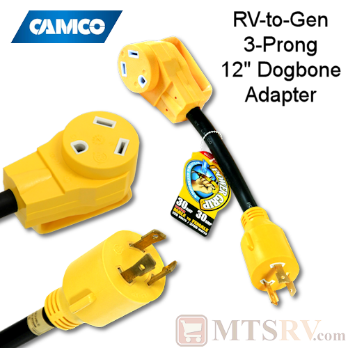 "Camco RV Power Grip 30A RV-to-Generator 3-Prong (LS-30) 12"" Dogbone Adapter - Model 55272"