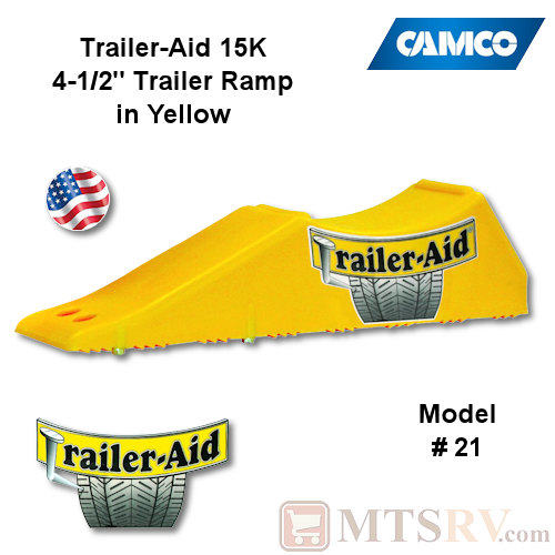 "Camco RV Trailer-Aid Standard Trailer Tire Changing Ramp in Yellow - 15,000 lbs. - 4-1/2"" Lift - USA Made"