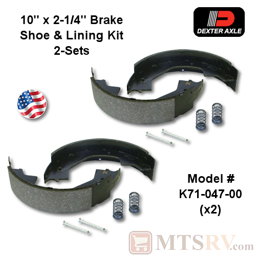 "Dexter Axle K71-047-00 10/"" x 2-1//4/"" Electric Brake Shoe /& Lining Kit"