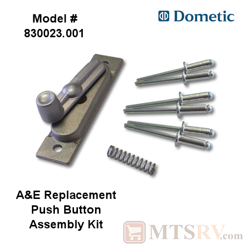 Dometic A&E Replacement Awning Push Button Assembly - Single - Includes Spring and Pop Rivets