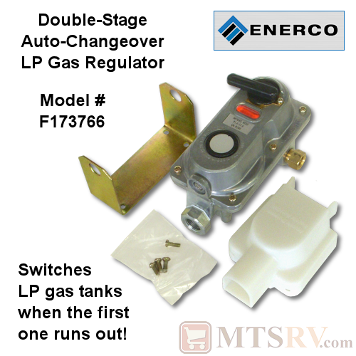 ENERCO 6020 Double-Stage Automatic Changeover LP Propane Gas Regulator with Bracket and Cover