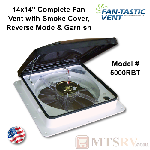 "Fan-Tastic Vent Model 2250 14""x14"" Complete Ceiling Fan Vent w/Reverse, Thermostat & More - White Base & Smoke Lid - USA Made"