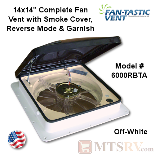 "Fan-Tastic Vent Model 3350 14""x14"" Complete Ceiling Fan Vent w/Reverse, Thermostat, Rain Sensor and More - Off-White Base & Smoke Lid - USA Made"