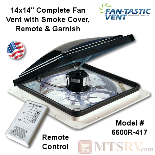 "Fan-Tastic Vent Model 7350 14""x14"" Complete Ceiling Fan Vent w/Reverse, Rain Sensor, Remote & More - White Base & Smoke Lid - USA Made"