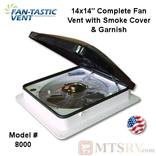 "Fan-Tastic Vent Model 8000/1200 14""x14"" Complete Ceiling Fan Vent - White Base with Smoke Lid - USA Made"