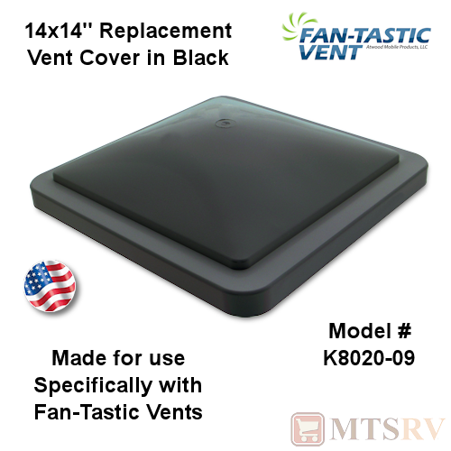 "Fan-Tastic Vent 14""x14"" Replacement Roof Vent Cover - BLACK"
