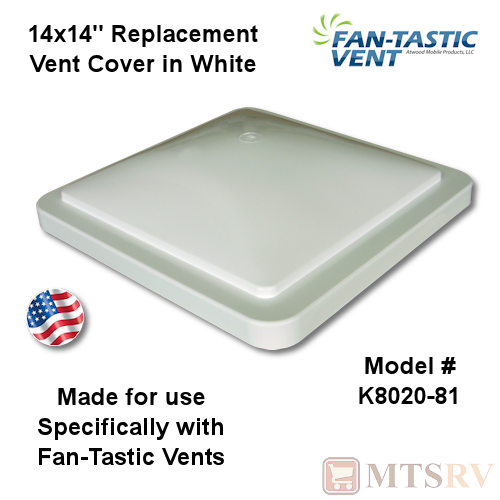 "Fan-Tastic Vent 14""x14"" Replacement Roof Vent Cover - WHITE"