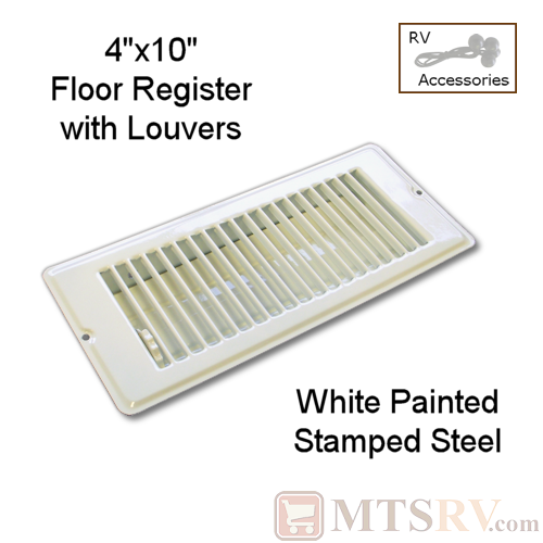 "METAL WHITE 4"" x 10"" Floor Register with Louvers - Painted Stamped Steel - for RVs & Trailers"
