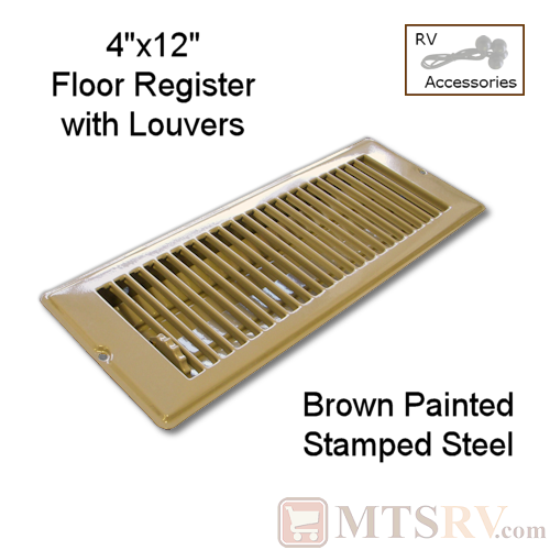 "METAL BROWN 4"" x 12"" Floor Register with Louvers - Painted Stamped Steel - for RVs & Trailers"