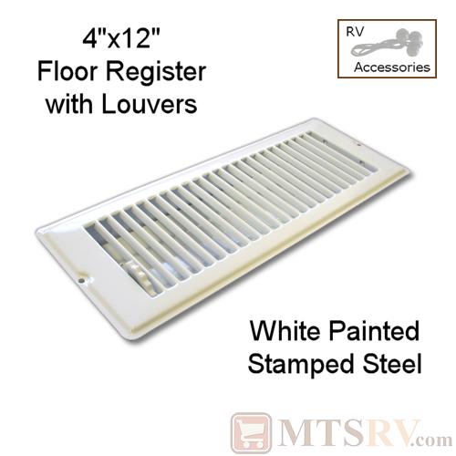"METAL WHITE 4"" x 12"" Floor Register with Louvers - Painted Stamped Steel - for RVs & Trailers"