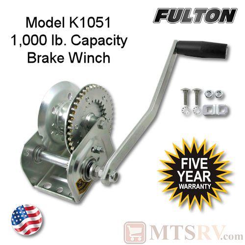 Fulton K1051 1000 lb. Industrial Grade Automatic Cable Brake Winch - 5 Year Warranty
