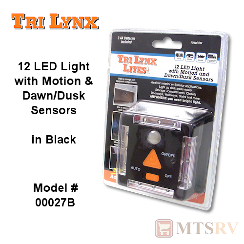 "Lynx ""Lite"" 12-LED Light w/Motion & Dusk Sensors in BLACK"