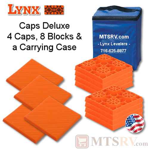Lynx Levelers Leveling Cap & Block Deluxe Package - 4 Caps, 8 Blocks & 1 Case - USA Made