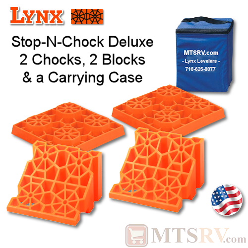 Lynx Levelers Stop-N-Chock Deluxe Package - 2 Chocks, 2 Blocks & 1 Case - USA Made